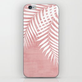 Pink Paint Stroke of Palm Leaves iPhone Skin