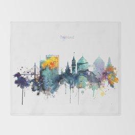 Oakland California Blue  skyline print Throw Blanket