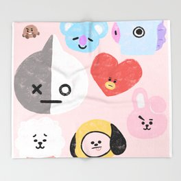 BTS21 Characters in Pastel Throw Blanket