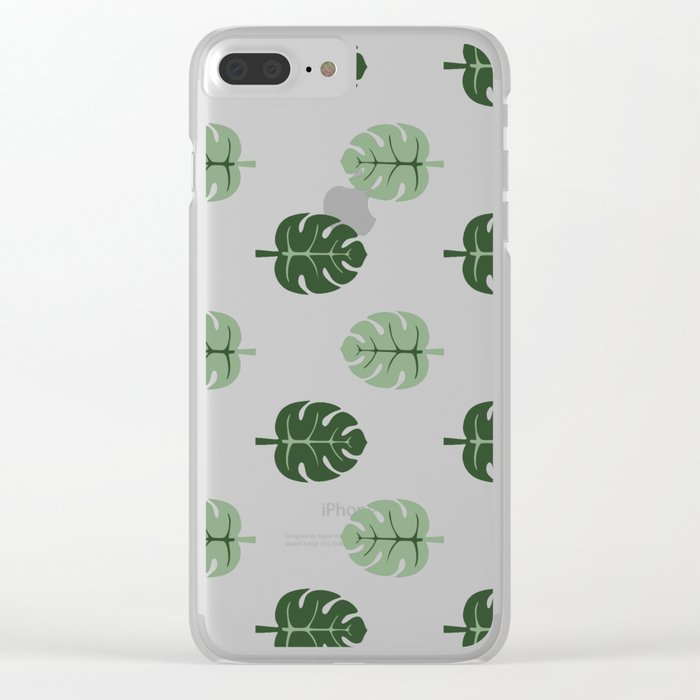 Tropical leaves Monstera deliciosa green and pink #monstera #tropical #leaves #floral #homedecor Clear iPhone Case