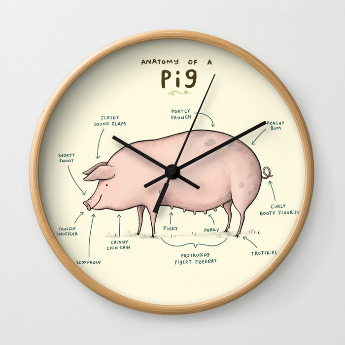 Anatomy of a Pig Wall Clock by sophiecorrigan | Society6