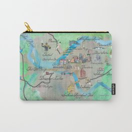 Pittsburgh Pennsylvania Fine Art Print Retro Vintage Map with Touristic Highlights Carry-All Pouch