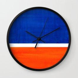 Colorful Bright Minimalist Rothko Orange And Blue Midcentury Modern Art Vintage Pop Art Wall Clock
