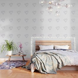 White Snow Heart On A White Background #decor #society6 #buyart Wallpaper