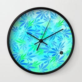 Blue Mint Cannabis Swirl Wall Clock