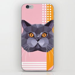 British Shorthair on a Memphis style iPhone Skin