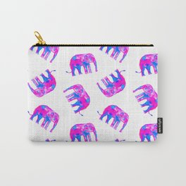 Watercolor Elephants in Bubblegum Pink + White Carry-All Pouch