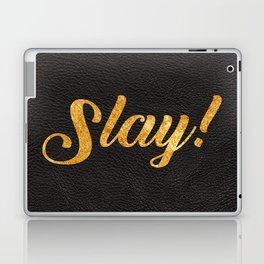 Slay Gold Metallic Typography Leather Background Laptop & iPad Skin