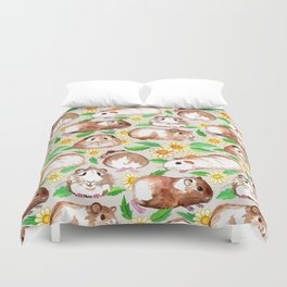 Guinea Pigs and Daisies in Watercolor Duvet Cover
