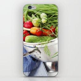 Fresh vegetables in metal colander with blue napkin iPhone Skin