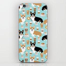 Corgis and coffee pillow phone case corgi gift cute cardigan corgi art iPhone Skin