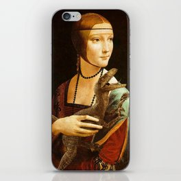 Lady with a Velociraptor iPhone Skin