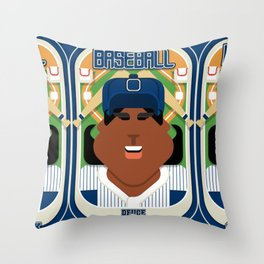 Baseball Blue Pinstripes - Deuce Crackerjack - Aretha version Throw Pillow