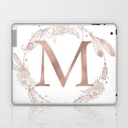 Letter M Rose Gold Pink Initial Monogram Laptop & iPad Skin