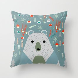 Winter pattern with baby bear Throw Pillow