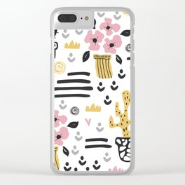 Cute flowers and cactus Clear iPhone Case