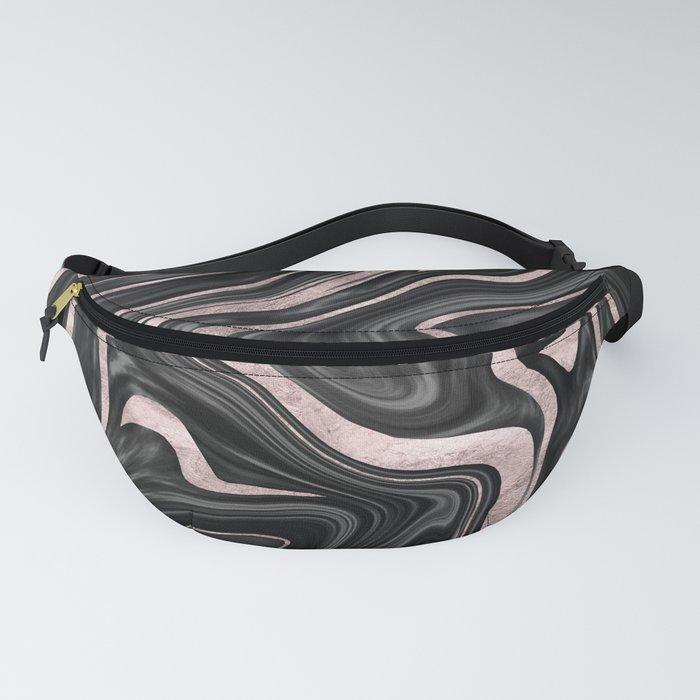 Black Gray White Rose Gold Marble #1 #decor #art #society6 Fanny Pack