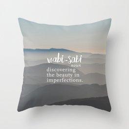 Wabi Sabi Word Nerd Definition - Mountains Throw Pillow