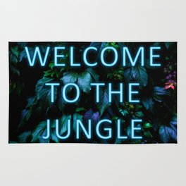 Welcome to the Jungle - Neon Typography Rug