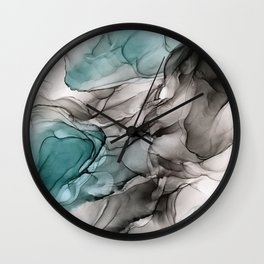 Smoky Grays and Green Abstract Flow Wall Clock