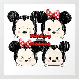 Minnie &Mickey Tsums Art Print