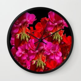 Red & Fuchsia Geranium flowers Wall Clock