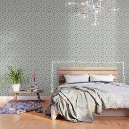 Paisely Flower Pattern Green Gray Wallpaper