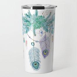 Peacock And Eucalyptus Crystal Spirit Gazer Travel Mug
