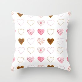 Pink and Gold Hearts Doodle Art Throw Pillow