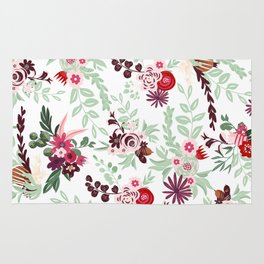 Abstract red pastel green pink country floral pattern Rug