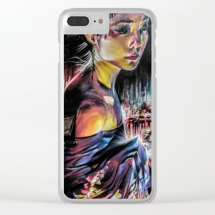 Grafitti wall with geisha girl Clear iPhone Case