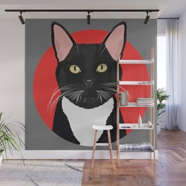 Tuxedo Cat Art Poster by Artist A.Ramos. Designed in Bold Colors. Perfect for Pet Lovers Wall Mural