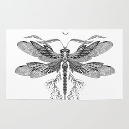 Dragon Fly Tattoo Black and White Rug