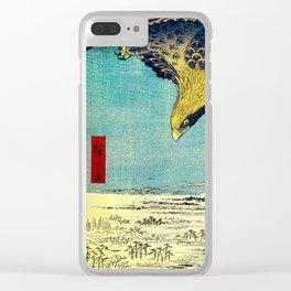 Hiroshige, Hawk Flight Over Field Clear iPhone Case