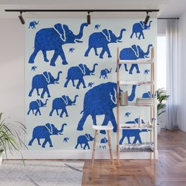 ELEPHANT BLUE MARCH Wall Mural