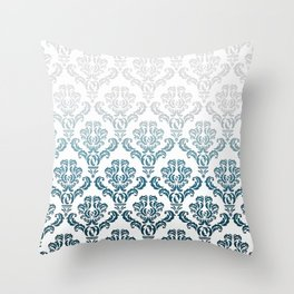 DAMASK GREY TO TEAL Throw Pillow