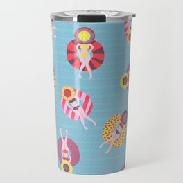Floating in the Pool Pattern. Women on colorful floaties. Travel Mug
