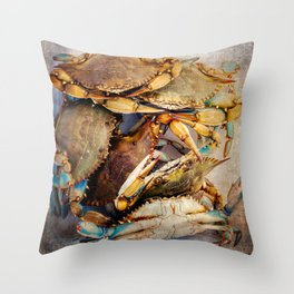 Blue Crabs Throw Pillow