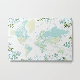 Mint and green floral world map with cities Metal Print