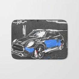 Scribble mini car on chalkboard Bath Mat