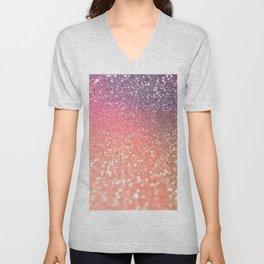 Rose Gold Peach Glitter Blush Unisex V-Neck