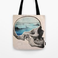 brain Tote Bags featuring Brain Waves by Chase Kunz