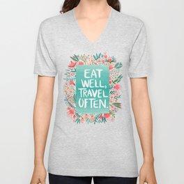 Eat Well, Travel Often Bouquet Unisex V-Neck