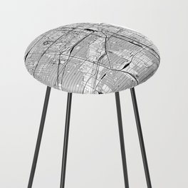 Chicago White Map Counter Stool
