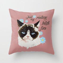 Resting Cat Face Throw Pillow