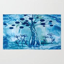 Blue Tree Encaustic Rug
