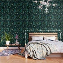 Tropical Jungle Night Leaves Pattern #1 #tropical #decor #art #society6 Wallpaper