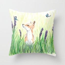 Fox with Butterflies Throw Pillow