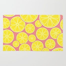 Pink Lemonade Citrus Lemon Slices Rug
