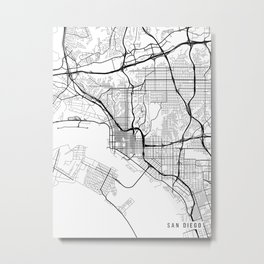 San Diego Map, California USA - Black & White Portrait Metal Print
